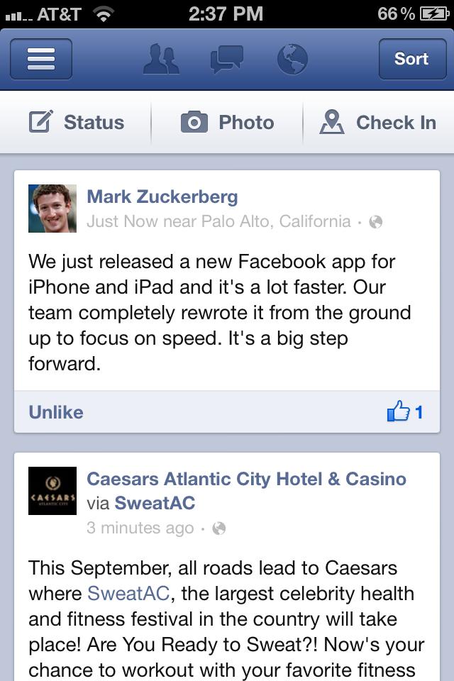 Facebook Debuts New, Faster iOS App