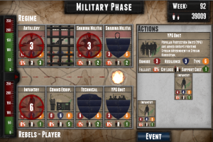 "Screenshot of the military phase of ""Syria: Endgame,"" showing gameplay format."