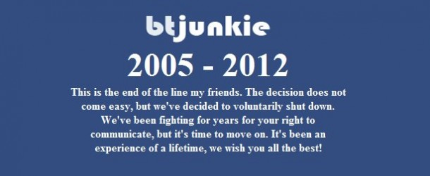 BTJunkie Shuts Down Voluntarily